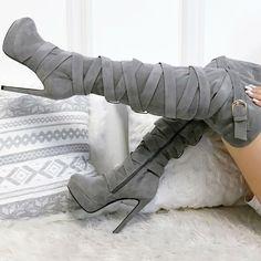 Wrap Around Thigh High Suede Boots