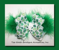 St. Patricks Day Shamrock Marabou Girls Hair Bow