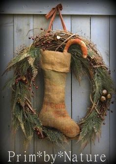 Primitive Shabby Burlap Christmas Stocking Wreath Candy Cane and Jingle Bells in Antiques, Primitives | eBay