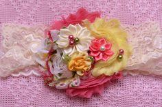 pale yelow vintage rose Headband baby by https://sallyannasunshine.com/