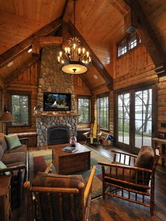Living Room Log Cabin Kitchens Design, Pictures, Remodel, Decor and Ideas