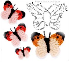 With over 50 free crochet butterfly patterns to make you will never be bored again! Get your hooks out and let's crochet some butterflies! Crochet Butterfly Free Pattern, Crochet Diagram, Crochet Chart, Crochet Motif, Irish Crochet, Crochet Stitches, Crochet Wall Art, Crochet Birds, Cute Crochet