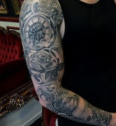 Black and Grey Full Sleeve Tattoo Ideas - Best Half Sleeve Tattoos For Men: Cool Half Sleeve Tattoo Ideas, Badass Sleeve Tattoo Designs For Guys Cool Shoulder Tattoos, Back Of Shoulder Tattoo, Half Sleeve Tattoos For Guys, Best Sleeve Tattoos, Clock Tattoo Design, Tattoo Sleeve Designs, Trendy Tattoos, Tribal Tattoos, Henna Tattoos
