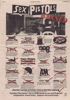 Sex Pistols : God Save The Queen banned, press advert, June 25th 1977.