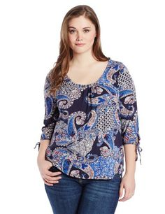 Lucky Brand Women's Plus-Size Paisley Lace Back Top, Multi, 2X Lucky Brand  #plussizeclothing