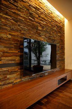 Stone Wall Living Room, Living Room Wall Designs, Ceiling Design Living Room, Living Room Interior, Home Interior Design, Living Room Decor, House Roof Design, Home Building Design, Stone Wall Design