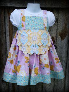 Little Girls Apron dress sz 3T by MooCowMonkeyPig on Etsy, $42.98