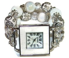 White on White Beaded Watch  Interchangeable Watch  by BeadsnTime