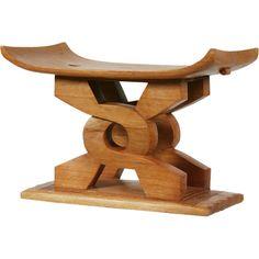 Ghana Carved wood stool 20thc h15w21d11