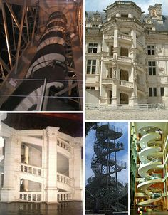 Helical stairs Helical stairs have a handrail on both sides, but no central pole like true spiral stairways do. Here are some helix / double helix staircases. The top left is in the interior of the Statue of Liberty. Both the top right photo of Royal Château de Blois and the Château de Chambord on the bottom left are located in France. There are double helix DNA outdoor stairs and yet another springy spiral shape at the Garvan Institute in Sydney.