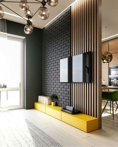 TV panel full of style! I love yellow in the environments and you? For interiors DD ⠀ ⠀ ⠀ ⠀ ⠀ ⠀ ⠀ ⠀ ⠀ ⠀ ⠀ ⠀ ⠀ Check also TV panel full of style! I love yellow in the environments and you? For interiors DD ⠀ ⠀ ⠀ ⠀ ⠀ ⠀ ⠀ ⠀ ⠀ ⠀ ⠀ ⠀ ⠀ Check also Luxury Kitchen Design, Home Design, Decor Interior Design, Design Ideas, Interior Modern, Interior Walls, Kitchen Interior, Cozy Living Rooms, Living Room Decor