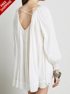 White Long Sleeve Loose Dress with Crisscross Back | USTrendy