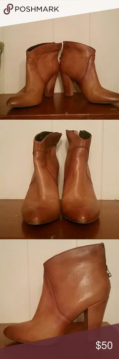 Steve Madden camel  booties These Camel booties can go with a dressy outfit or jeans.    They are just a little big.    I've only worn them twice. Steve Madden Shoes Ankle Boots & Booties