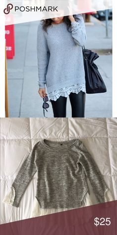 Grey Lace Trim Sweater Super cute and stylish grey Lace trim sweater! (No brand listed) Brandy Melville Jackets & Coats Pea Coats