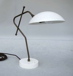 Boris Lacroix; Enameled Metal and Brass Table Lamp for Disderot, 1950s.