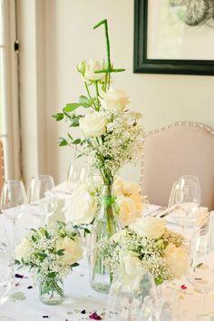 déco de salle de mariage avec des fleurs fraiches