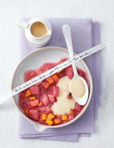 Rezept: Rhabarber-Mango-Kompott mit Sabayon - [LIVING AT HOME]