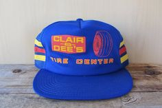 CLAIR & DEE'S Tire Center Vintage 80s Blue Mesh Trucker Hat at HatsForward