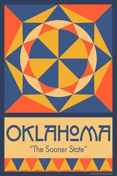 Olde America Antiques | Quilt Blocks | National Parks | Bozeman Montana : 50 STATE QUILT BLOCK SERIES - OKLAHOMA - version 1