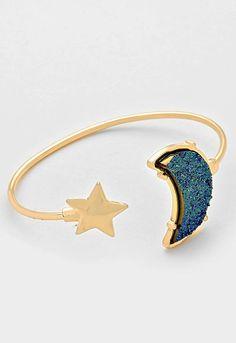 Druzy Crescent Moon & Star Cuff Bracelet - Blue