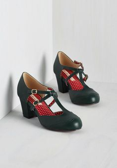 Skip to My Luna Heel by Bait Footwear - Green, Solid, Work, Graduation, Vintage Inspired, 30s, 40s, Better, Chunky heel, T-Strap, Mid