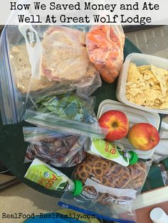 What I packed and what we ate to save money and eat healthy at Great Wolf Lodge