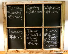 with chalk paint...trash to treasure! My adult chore chart :) Painted the panes of glass with chalkboard paint on a vintage window found in the trash