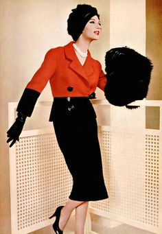 Simone d'Aillencourt in striking red and black wool suit by Pierre Balmain, photo by Pottier, 1958