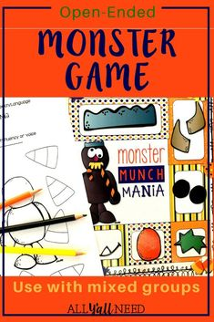 Monster Munch Mania: An Open-Ended Halloween Game for SLPs! Speech Activities, Speech Therapy Activities, Classroom Activities, Primary Classroom, Classroom Ideas, Halloween Games, Halloween Activities, Speech And Language, Language Arts