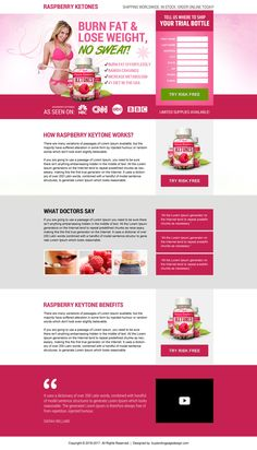 Raspberry ketone weight loss supplement landing page design | BuyLPDesign Blog