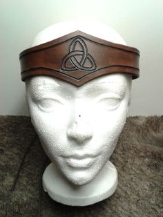 Carved celtic leather crown (circlet) with antique brown finish, medieval, LARP   find something like this to go with my Merida costume