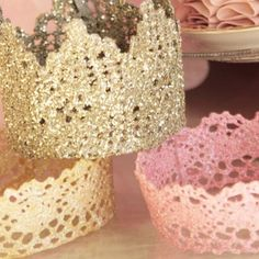 DIY Crowns, Dip LaCe in Starch and Spray Paint!!