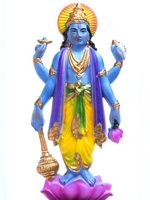 Vishnu, depicted as a blue-skinned man with four arms standing on a lotus flower.