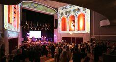 Event Lighting, Custom Antique Bulb Stage Set, & Projection Mapping Design by The AV Company (Virginia Film Festival 2015 Event - Jefferson Theater, Charlottesville VA)