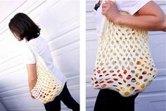 An expandable tote bag from an old tee shirt,