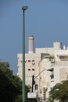 Reading power plant and a lightning pole, from Ha'Medina Square, Tel Aviv http://hapan.co.il/kham