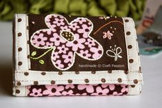 TriFold Floral Embroidered Wallet {Sewing Tutorial & Pattern}