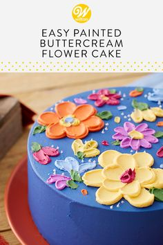 "You don't need a whole tip set to decorate this cake. Using an angled and tapered spatula, you can simply ""paint"" flowers on your dessert! Great for birthdays, bridal showers and more, this Easy Painted Buttercream Flower Cake makes a great project for be Mini Cakes, Cupcake Cakes, Buttercream Flower Cake, Buttercream Frosting, Wilton Cakes, Salty Cake, Painted Cakes, Floral Cake, Savoury Cake"