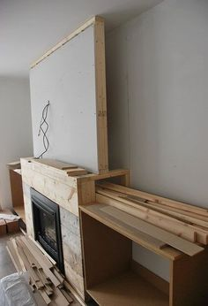 Want to build DIY fireplace built ins? See the play-by-play of how our craftsman style built ins were created using MDF, white paint, stone & marble tile. Fireplace Built Ins, Fireplaces Layout, Living Room With Fireplace, Room Remodeling, Trendy Living Rooms, Room Design, Diy Fireplace, Simple House, Fireplace Design