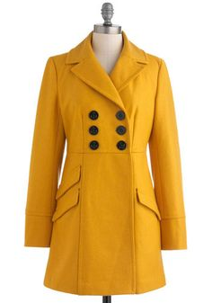 Dijon My Mind Coat by Tulle Clothing - Long, Yellow, Solid, Buttons, Pockets, Long Sleeve, Casual, Fall, 3, Double Breasted, Press Placement...