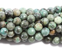 African turquoise faceted round beads (4mm, 15.5 inches)
