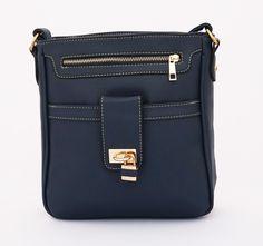 Krissy Korean Bag, casual trendy hiasan gembok depan. Tali panjang selempang. Warna biru. Uk 24x25