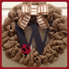 Love!!!Nautical Burlap Wreath with Initial by SheekBurlapDesigns, $52.00