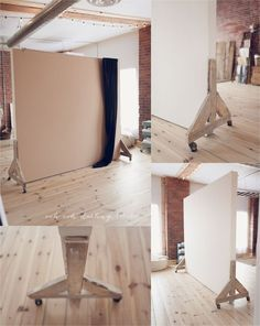 """firsthome:  a moveable wall on vintage castors. """"one side is painted bone white and one mocha, colour matched from our fav seamless paper."""""""