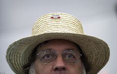 Sam Zook, an Amish man from Goodville, Pa., watches on carefully as he waits for Donald Trump to hit the stage at his rally