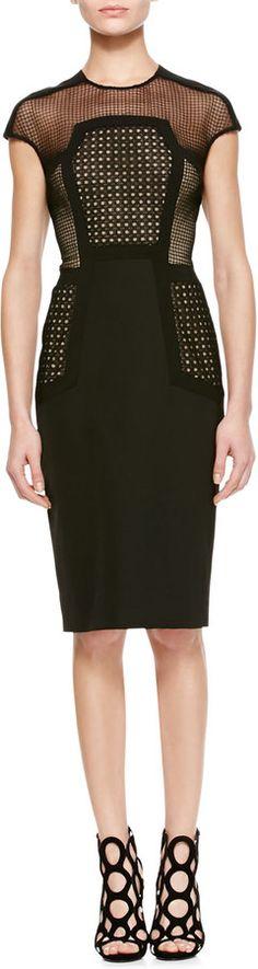 Lela Rose Placed-Lace Sheath Dress  WAS $1,695.00 NOW $593.00