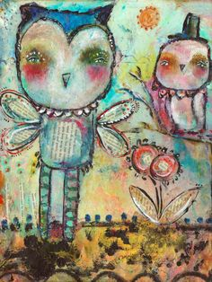 Items similar to Whimsical Owl Art - Mind Spring- inch Print of a Reproduction of the Original Mixed Media Painting by Juliette Crane on Etsy Mixed Media Painting, Mixed Media Art, Crane, Whimsical Owl, Online Painting, Painting Classes, Spring Art, Owl Art, Altered Art