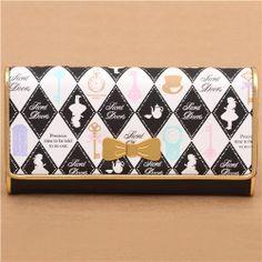black white Alice in Wonderland fairy tale wallet by Q-Lia