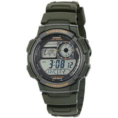 Men's '10-Year Battery' Quartz Resin Watch, Color:Green (Model: AE1000W-3AV)   #MensWristWatches