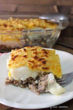 Pastel de coliflor con carne picada y bechamel
